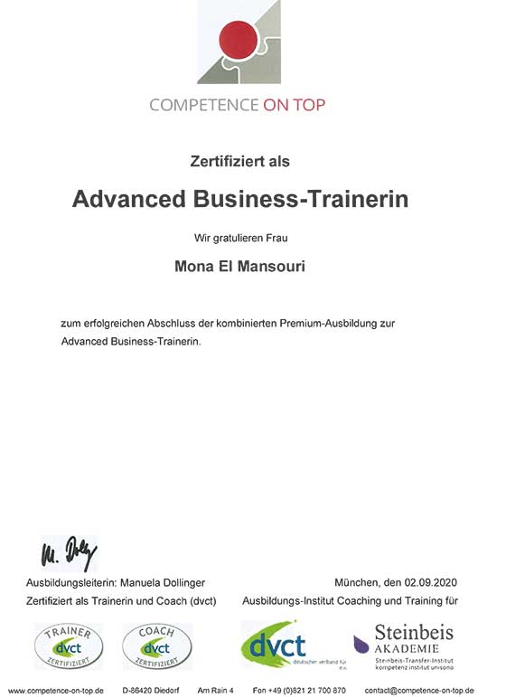 Zertifikat Advanced Business Trainerin Mona El Mansouri